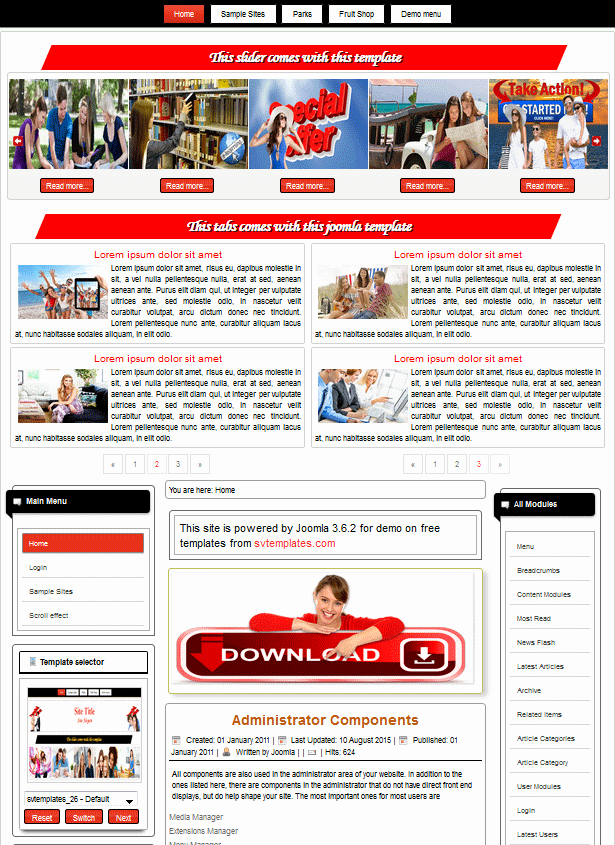 Joomla 3 Free Template with Responsive Table and