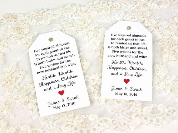 Jordan Almonds Favor Tag Wedding Favor Tag Custom Tag