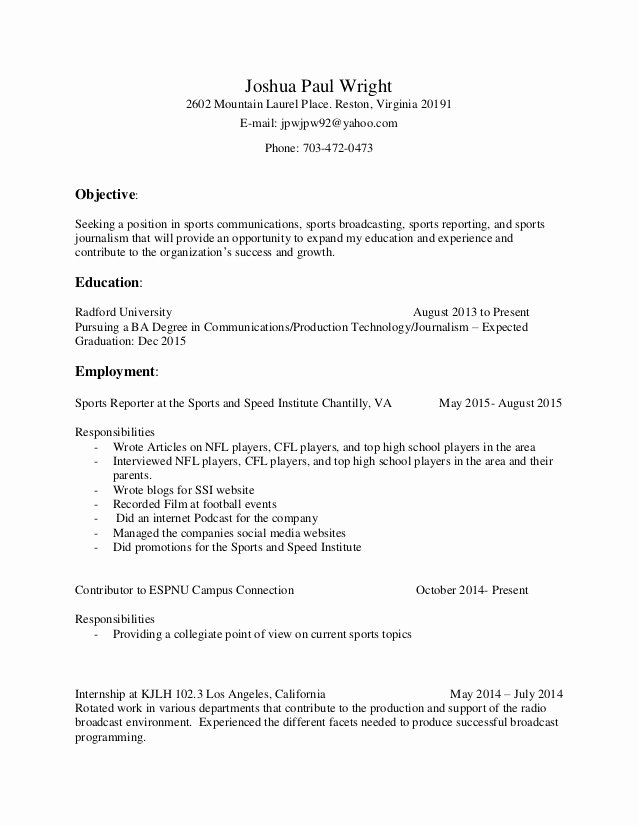 Joshua Wright Resume