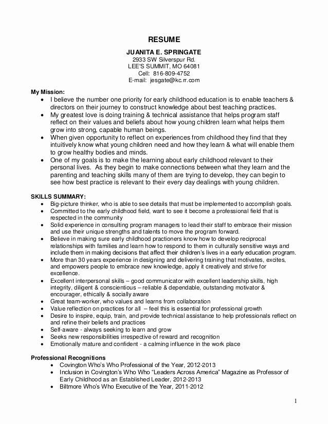 Juanita Springate Resume 13 Ec Objective