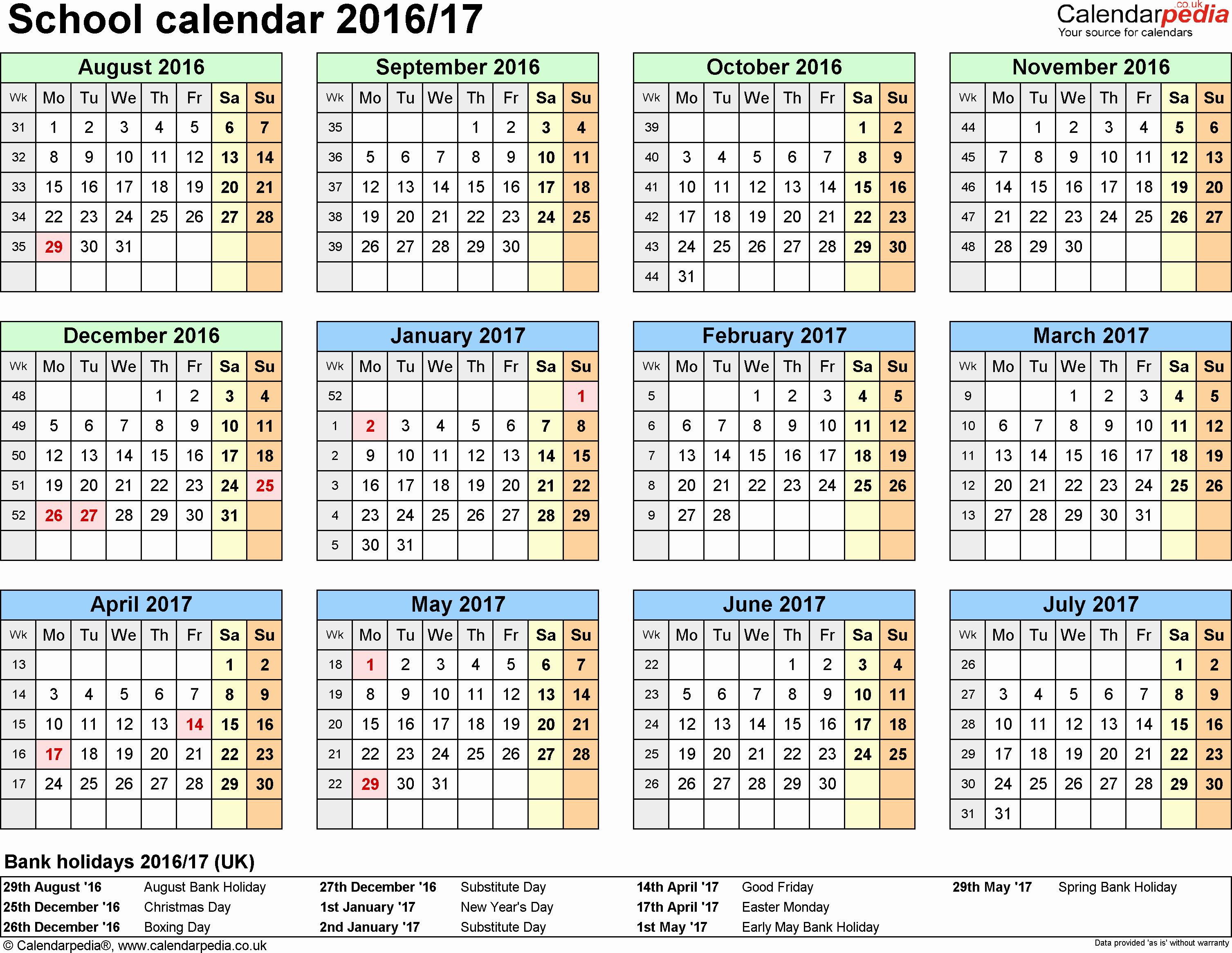 July 2017 Calendar Excel