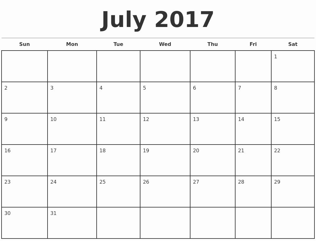 July 2017 Monthly Calendar Template