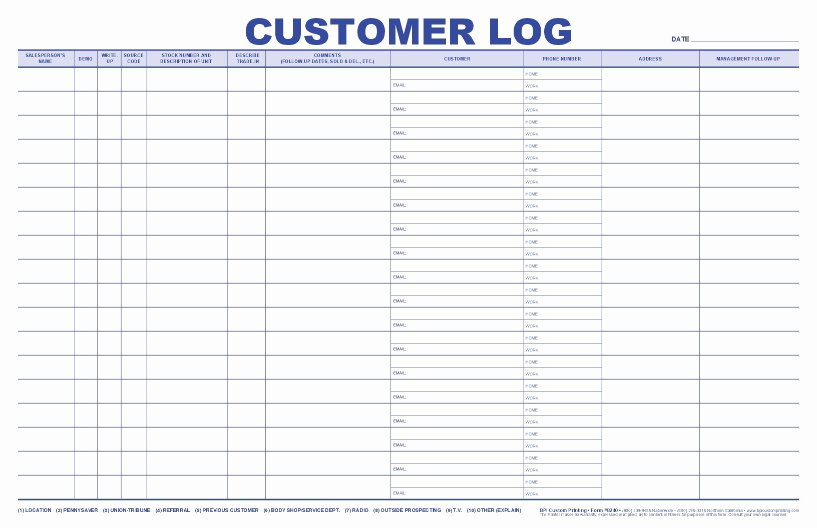 Jumbo Customer Log Bpi Dealer Supplies