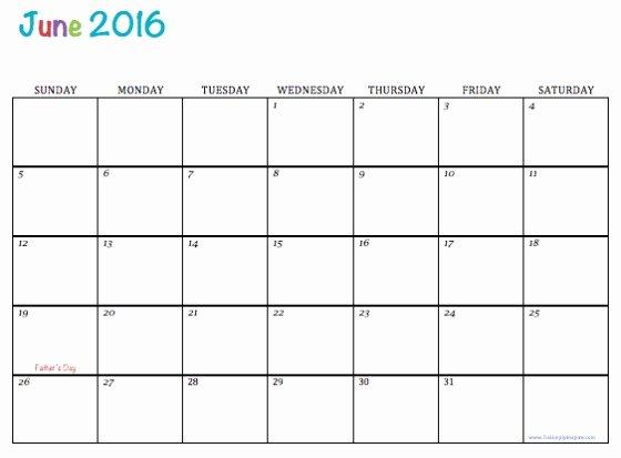 June 2016 Free Printable Calendar