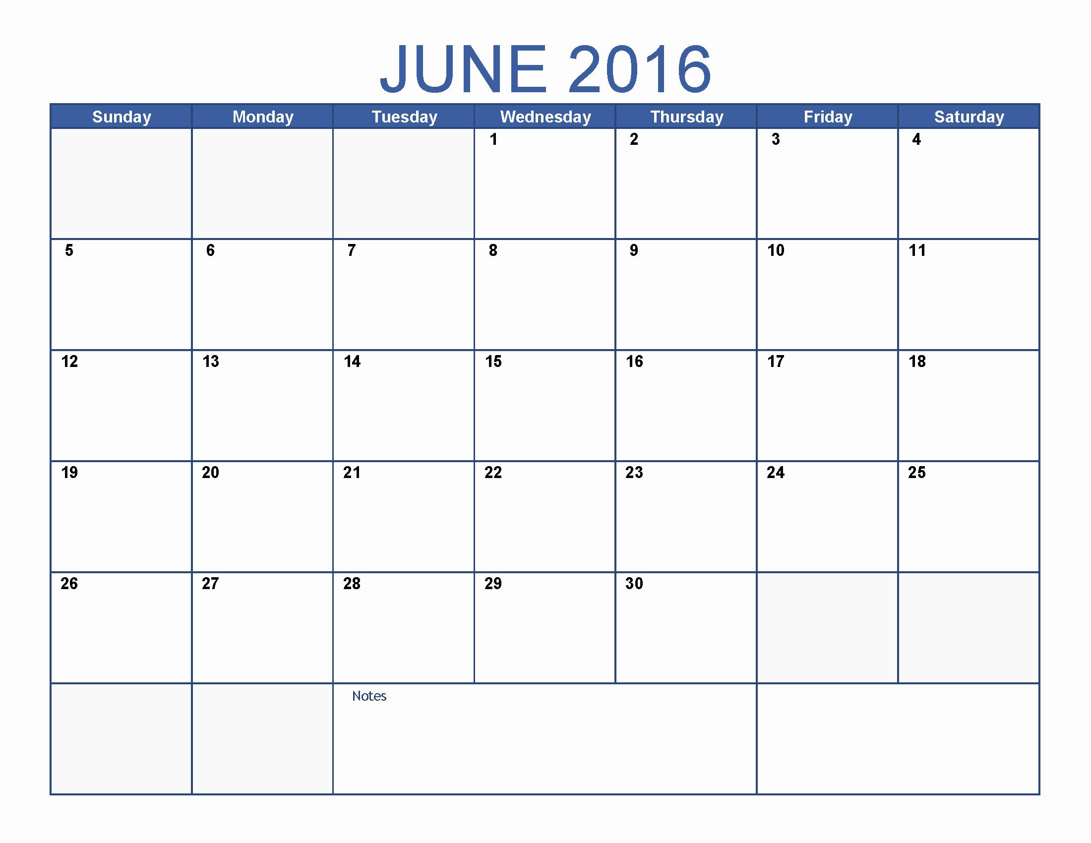 June 2016 Printable Calendar Blank Templates
