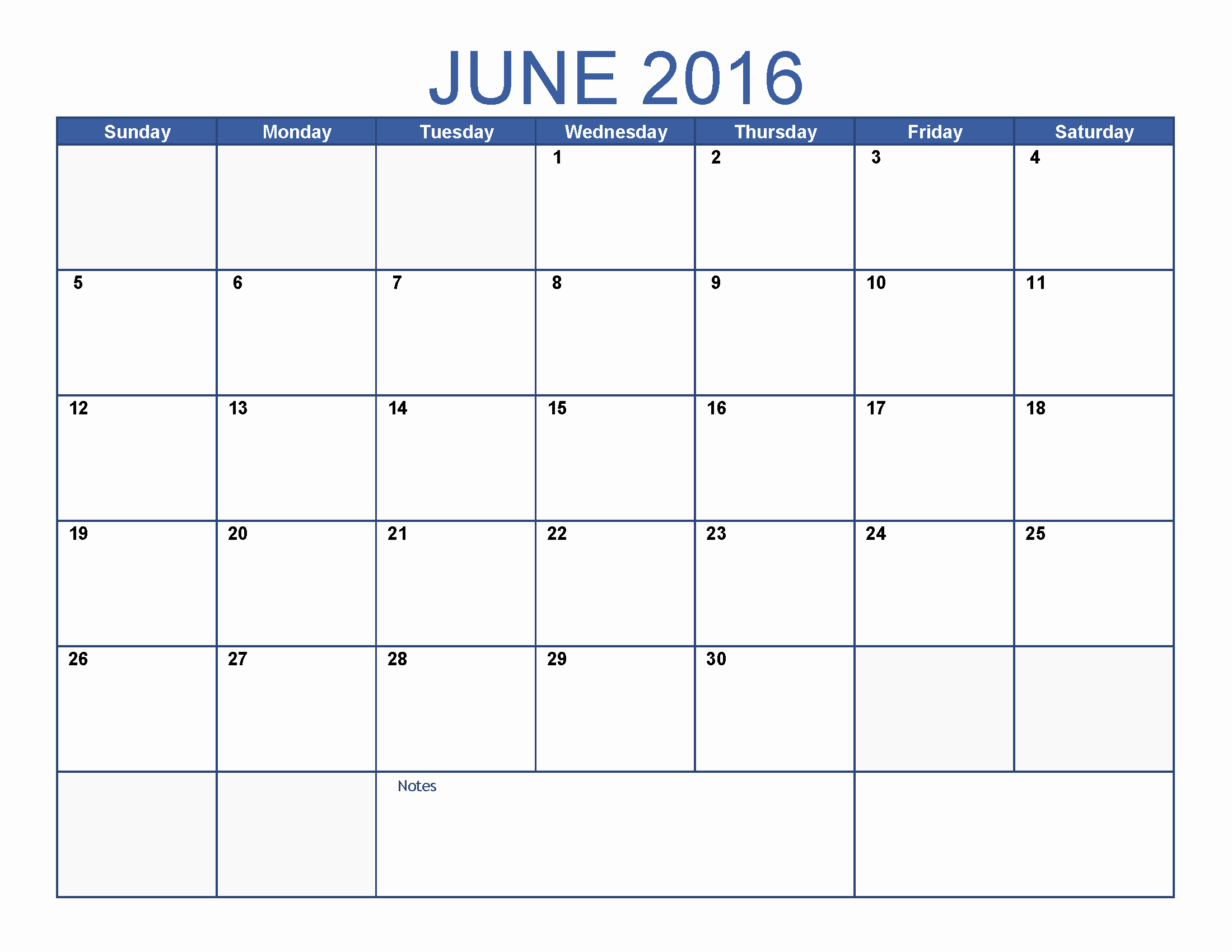 June 2016 Printable Calendar Blank Templates
