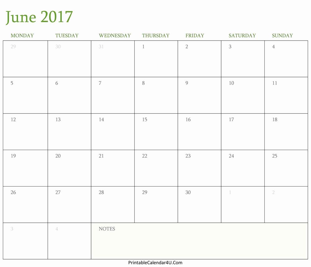 June 2017 Calendar Printable In Word Pdf Monthly