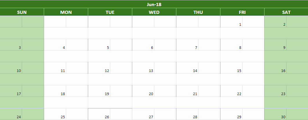 June 2018 Google Sheets Calendars Templates