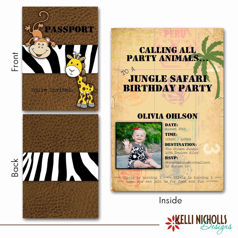 Jungle Safari Passport Birthday Invitation Custom for sona