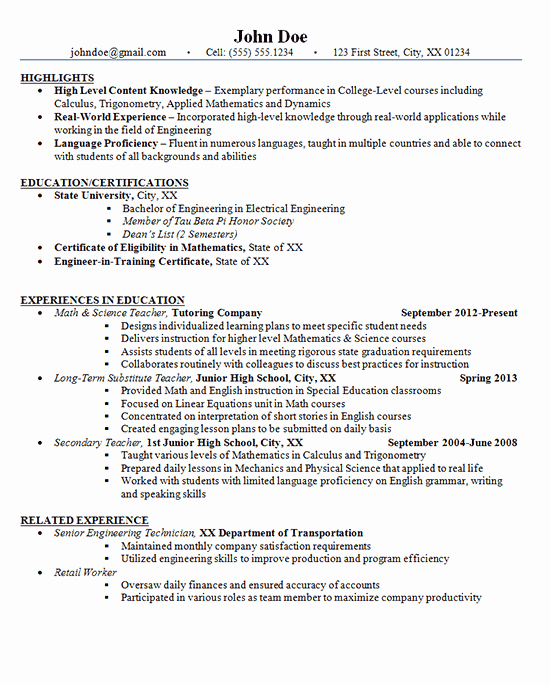Junior High School Teacher Resume Example Math and Science