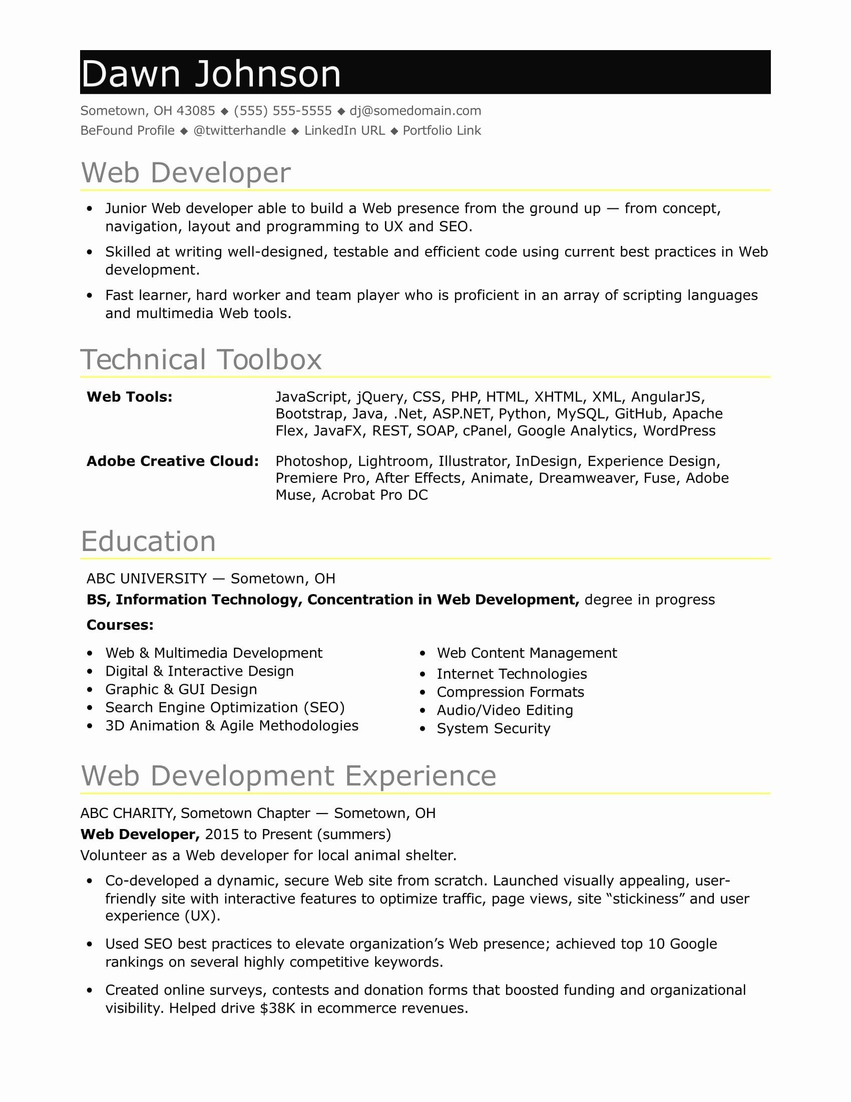 Junior Java Developer Resume Beautiful Download Java