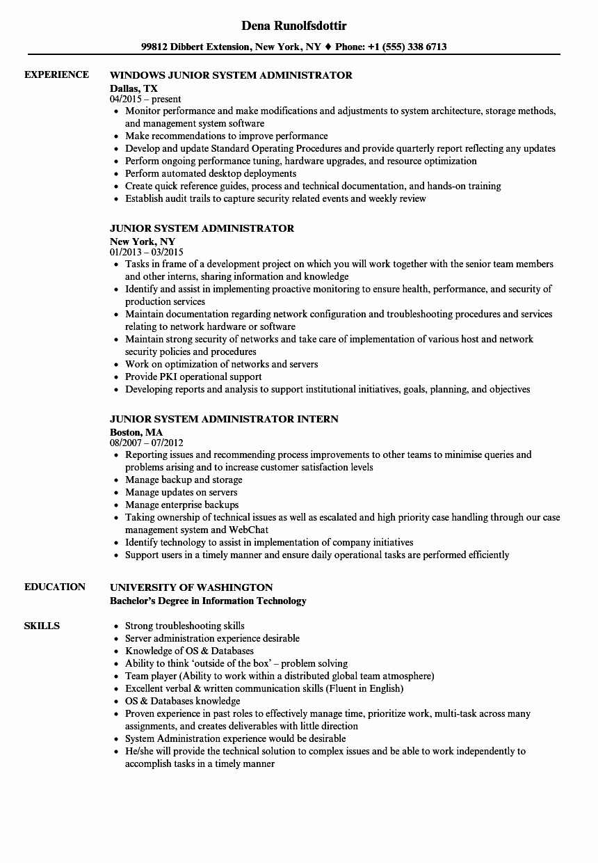 Junior System Administrator Resume Samples