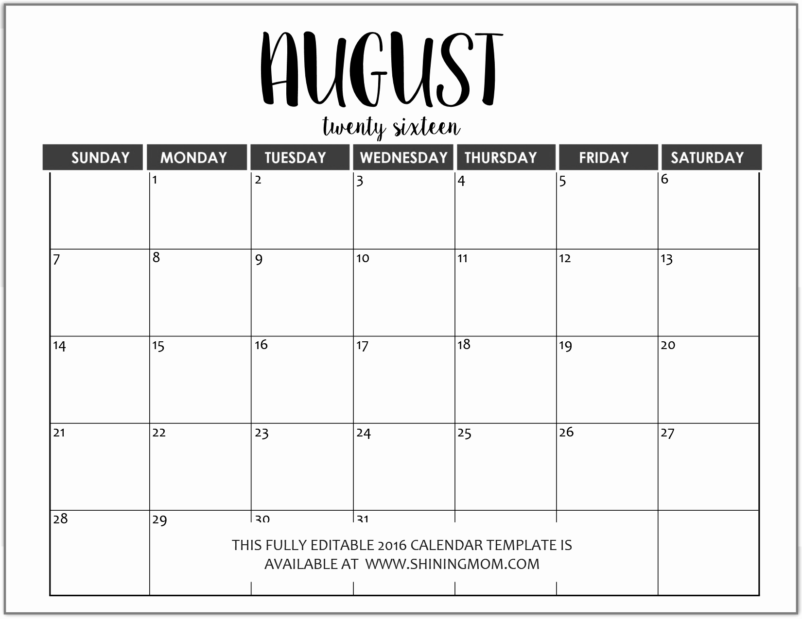 Just In Fully Editable 2016 Calendar Templates In Ms Word