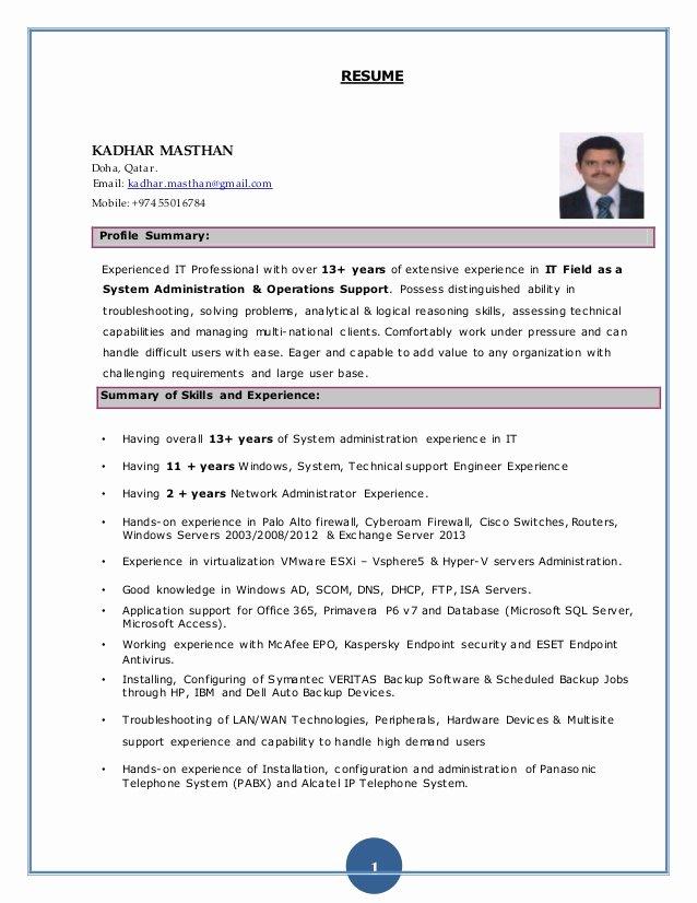 Kadhar Masthan System Administrator Resume