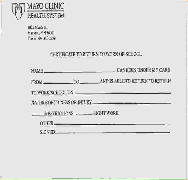 Kaiser Doctors Note for Work