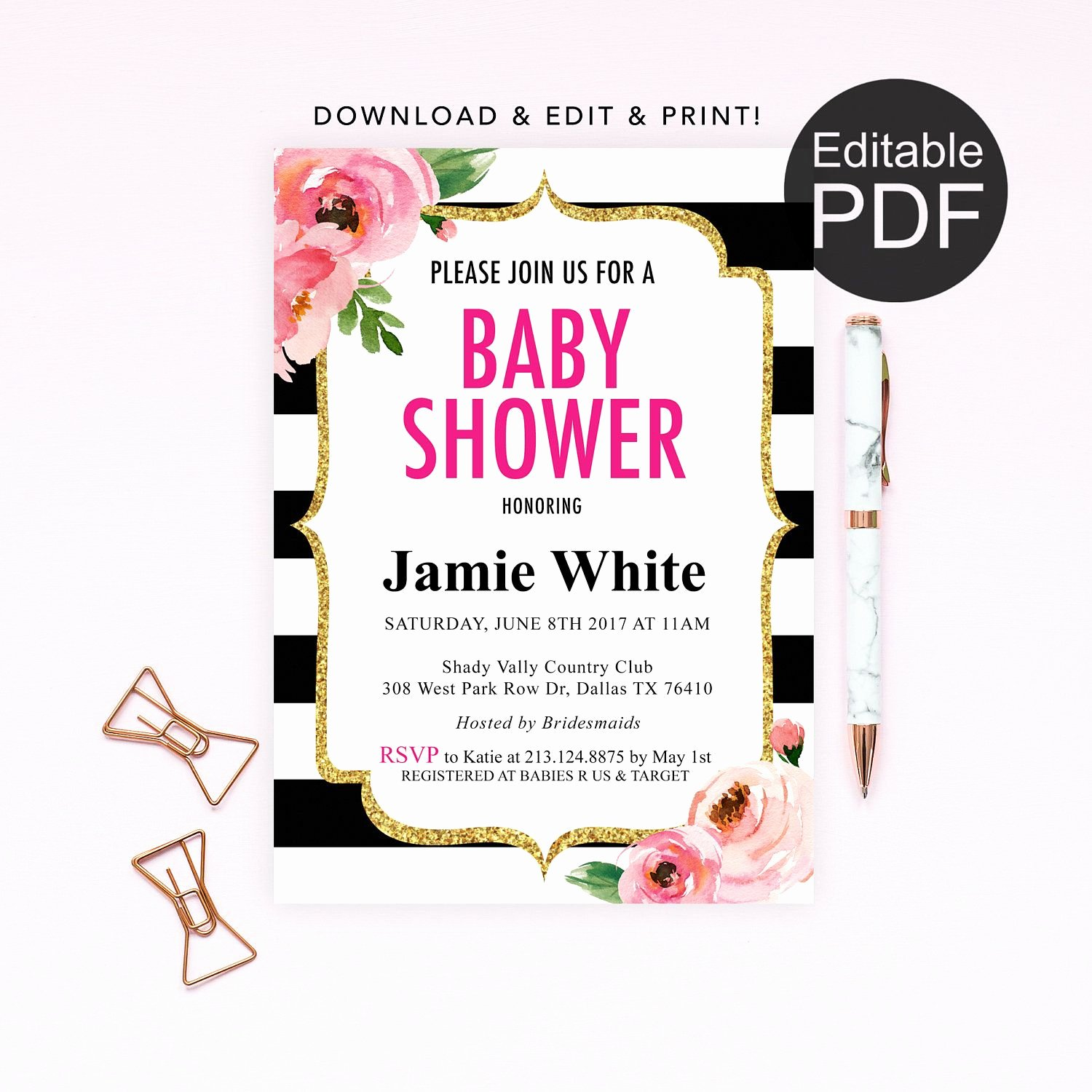 Kate Baby Shower Invitation Template Spade Baby Shower