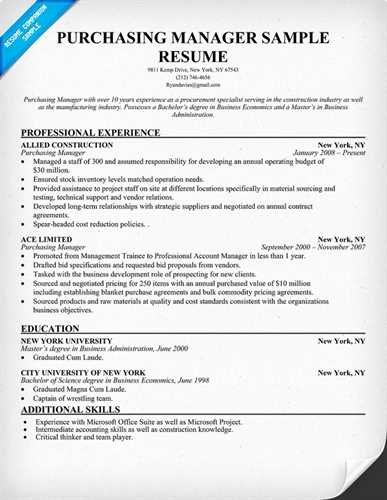 Key Elements to Include In A Purchase Manager Resume