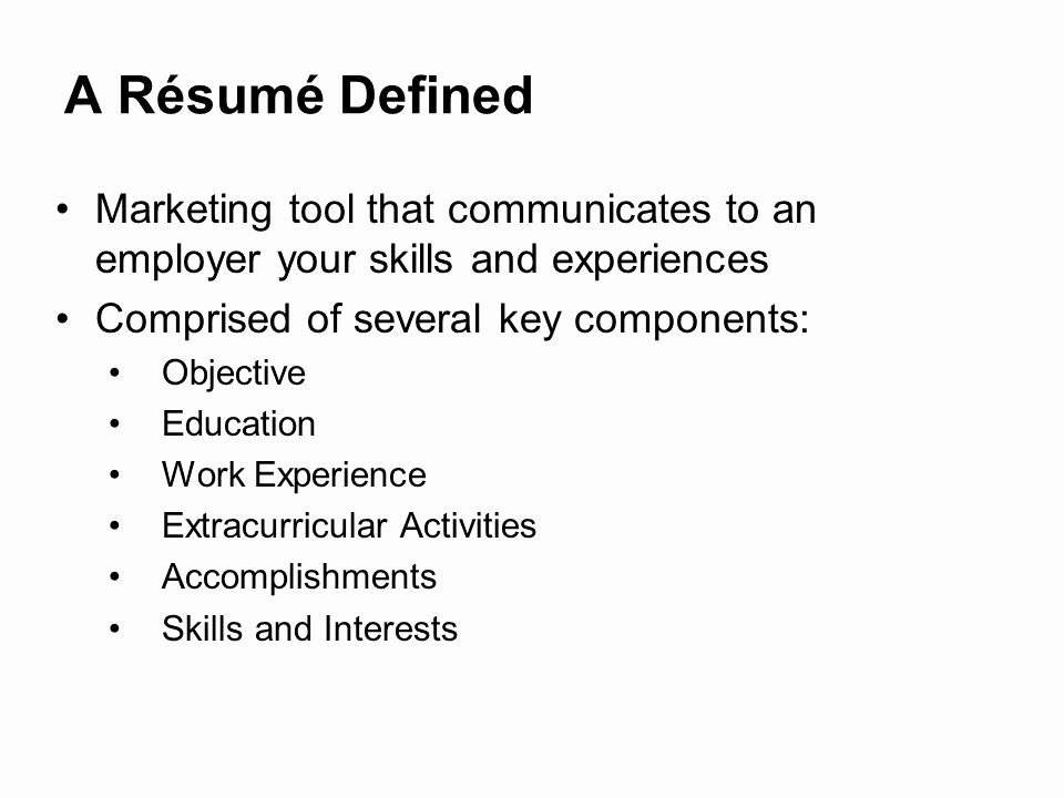 Key Ponents A Resume Resume Cv Cover Letter Resume