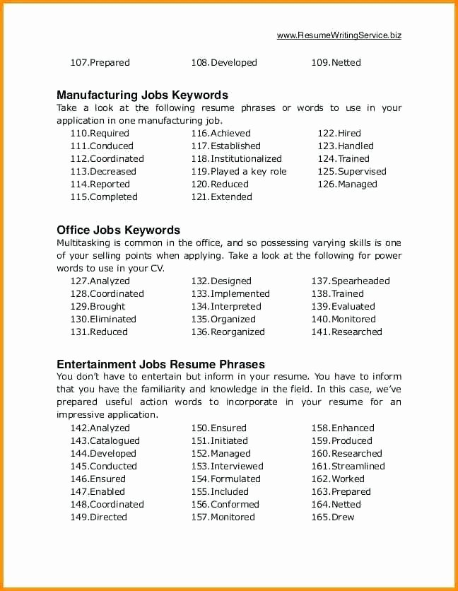 Key Resume Words and Phrases