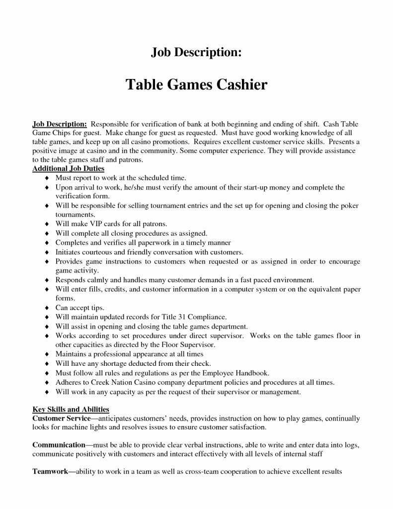 Kfc Cashier Job Description Resume – Perfect Resume format