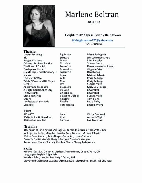 Kids Acting Resume Best Resume Collection