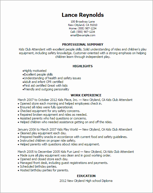Kids Club attendant Resume Template — Best Design & Tips