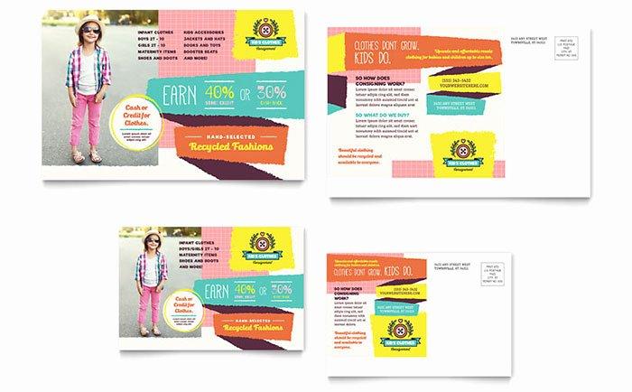Kids Consignment Shop Postcard Template Design