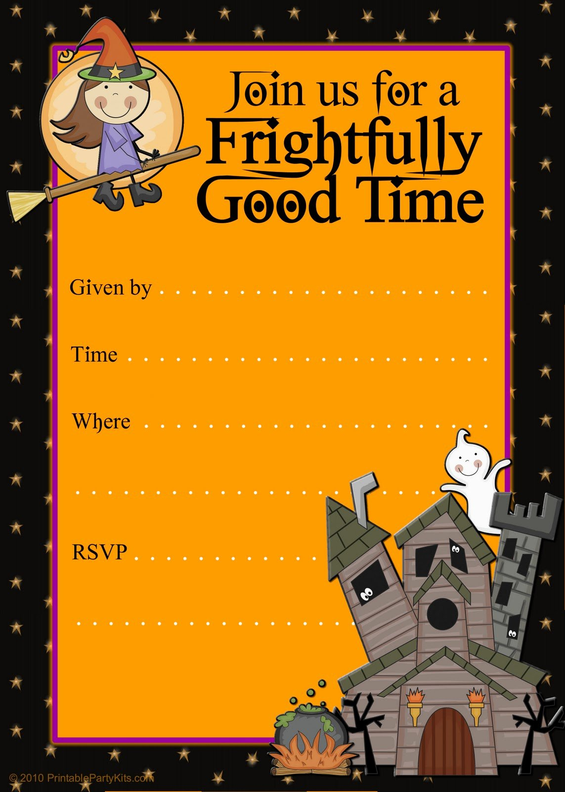 Kids Halloween Party Invitations Template