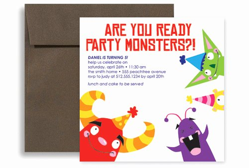 Kids Party Monster Printable Birthday Invitation 5x5 In