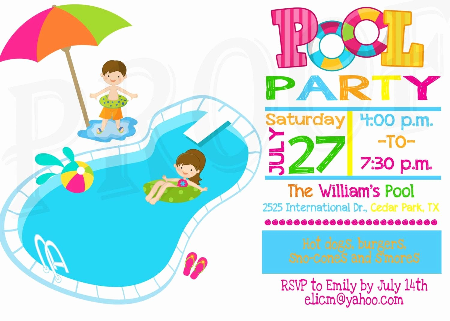 Kids Pool Party Invitation Pool Party Pinterest