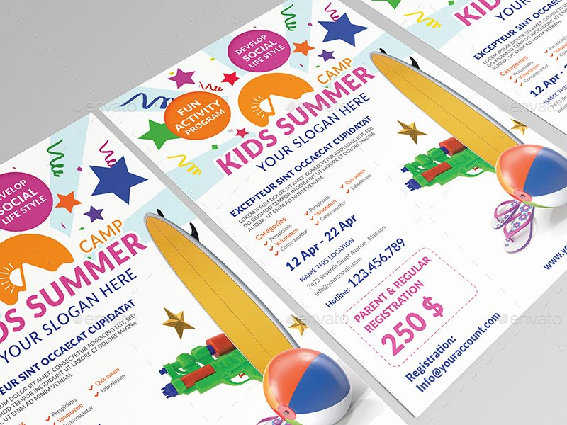Kids Summer Camp Flyer Template by Wutip2