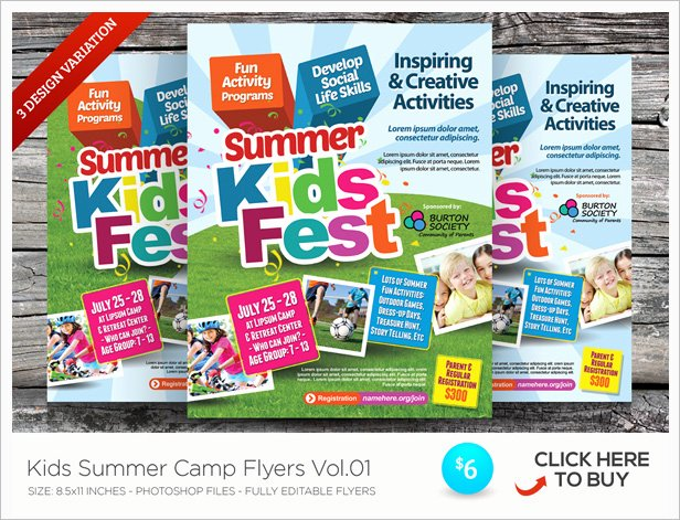 Kids Summer Camp Flyer Templates by Kinzishots
