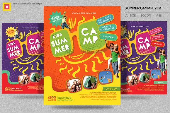 Kids Summer Camp Flyer V2 Flyer Templates On Creative Market