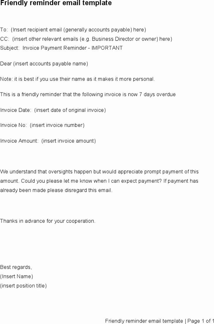 Kind Reminder Email Sample