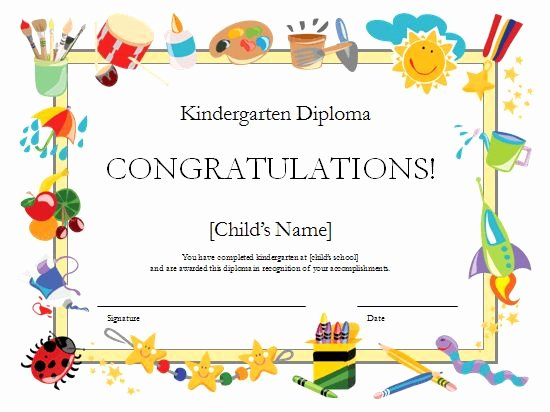 Kindergarten Diploma Certificate Templates Fice