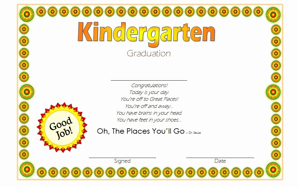 Kindergarten Graduation Certificate Template 3 – Best 10