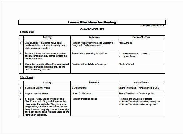 Kindergarten Lesson Plan Template 3 Free Word Documents