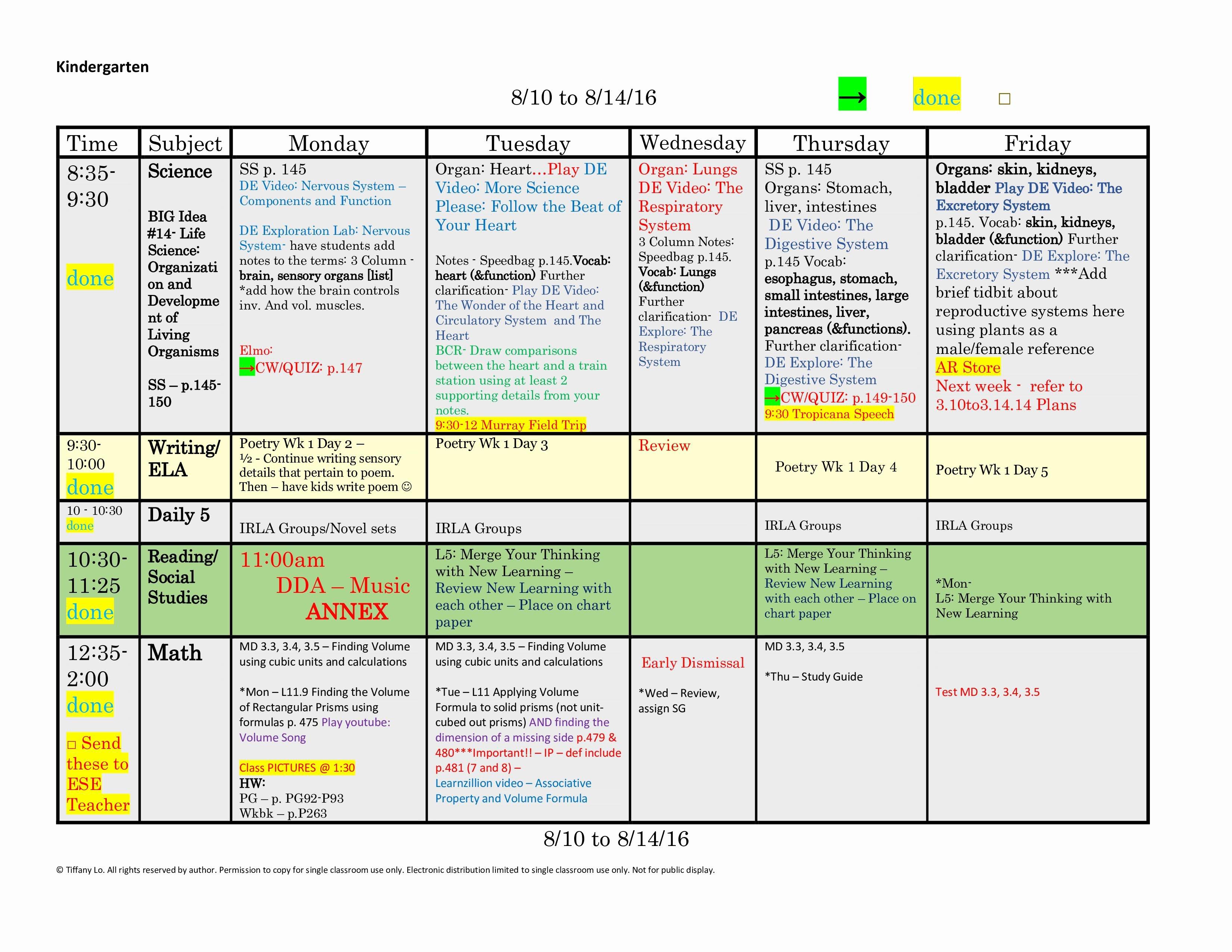 Kindergarten Lesson Plan Template E Week E Page