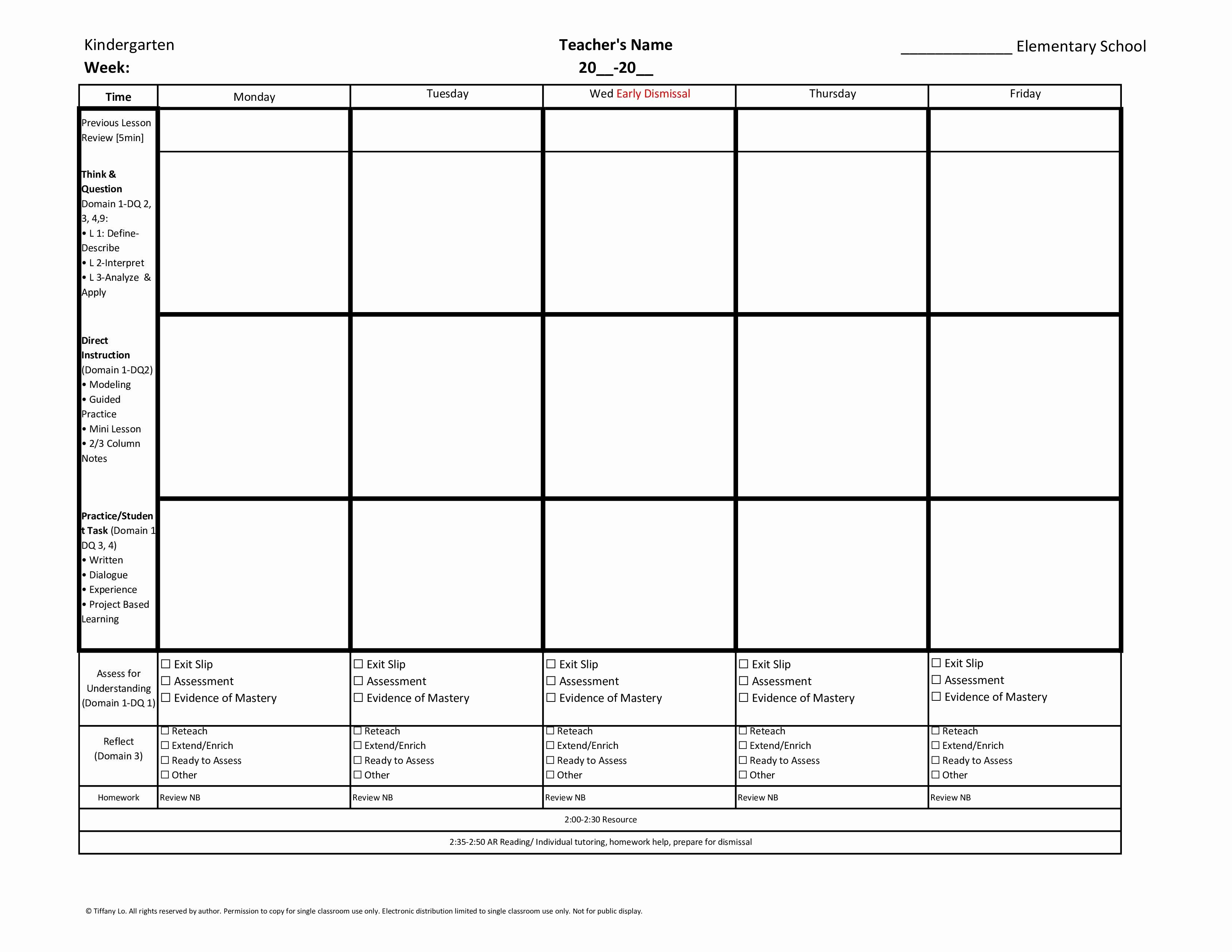 Kindergarten Mon Core Weekly Lesson Plan Template W