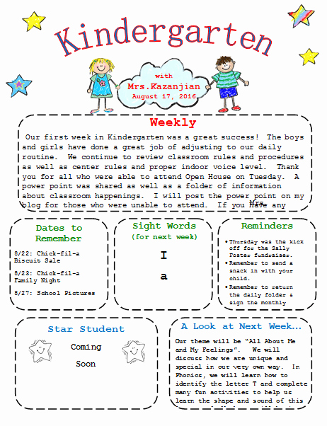 Kindergarten Newsletter Template 3 Free Newsletters