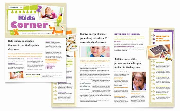 Kindergarten Newsletter Template Design