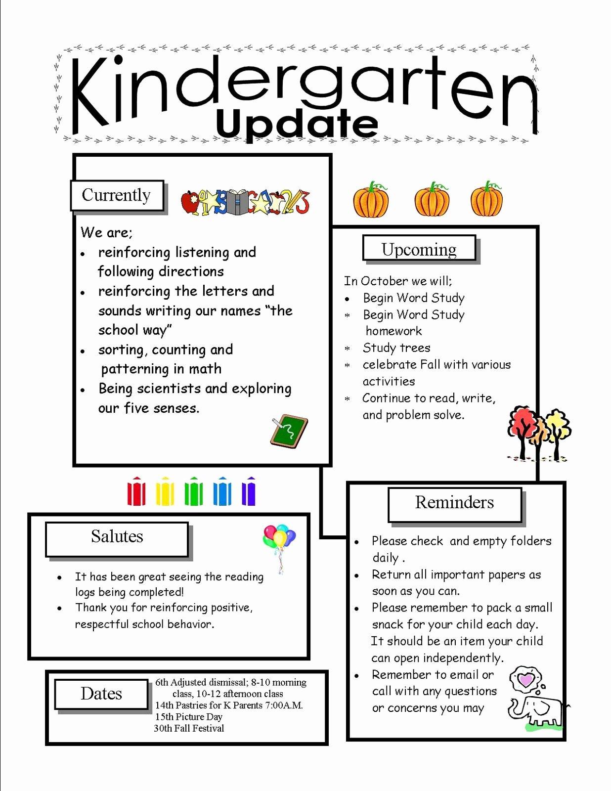 Kindergarten Newsletter Templates for Free