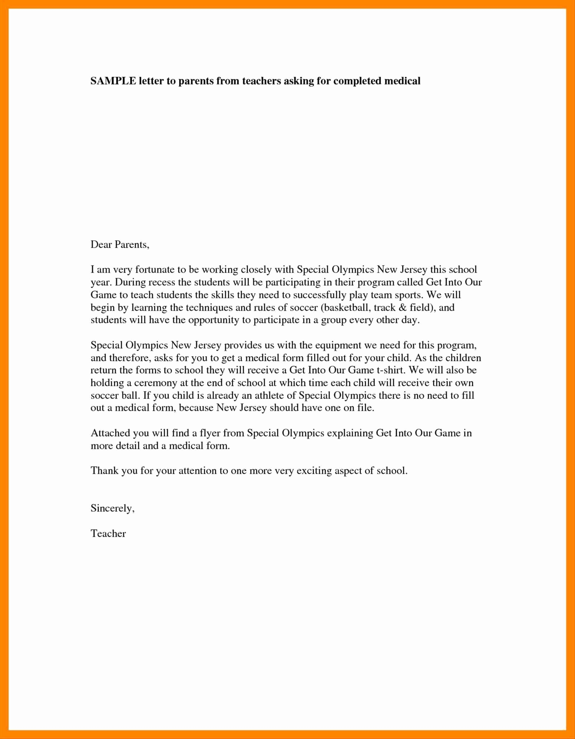 Kindergarten Parent Letter Template