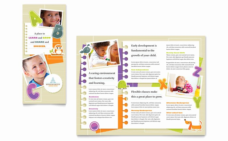 Kindergarten Tri Fold Brochure Template Word & Publisher