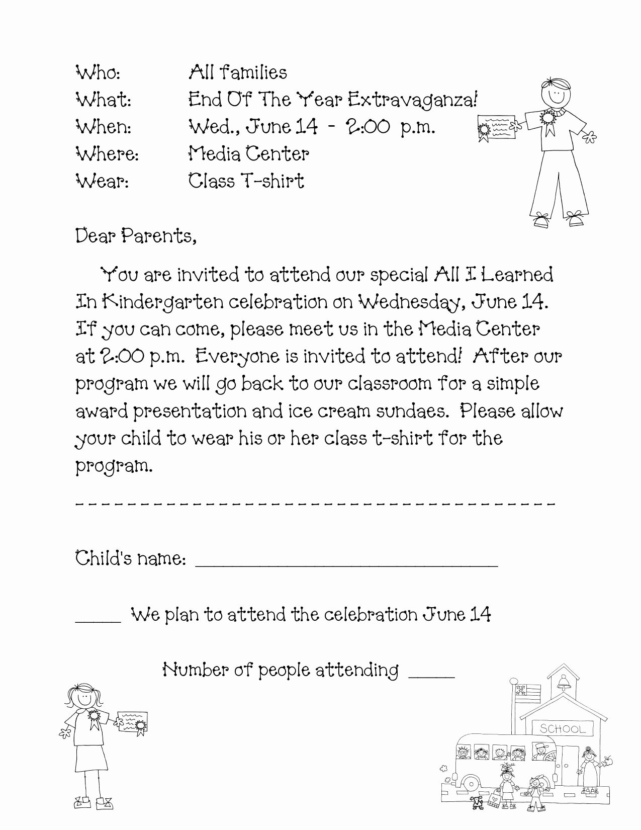 Kindergarten Wel E Letter Template Samples