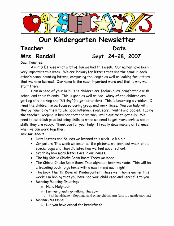 Kindergarten Wel E Letter to Parents to Pin On