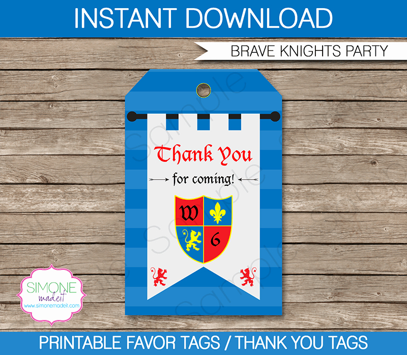 Knight Party Favor Tags Thank You Tags