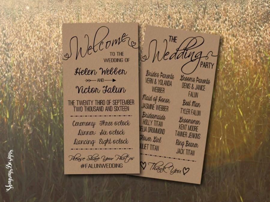 Kraft Wedding Program Printable Rustic Wedding Program