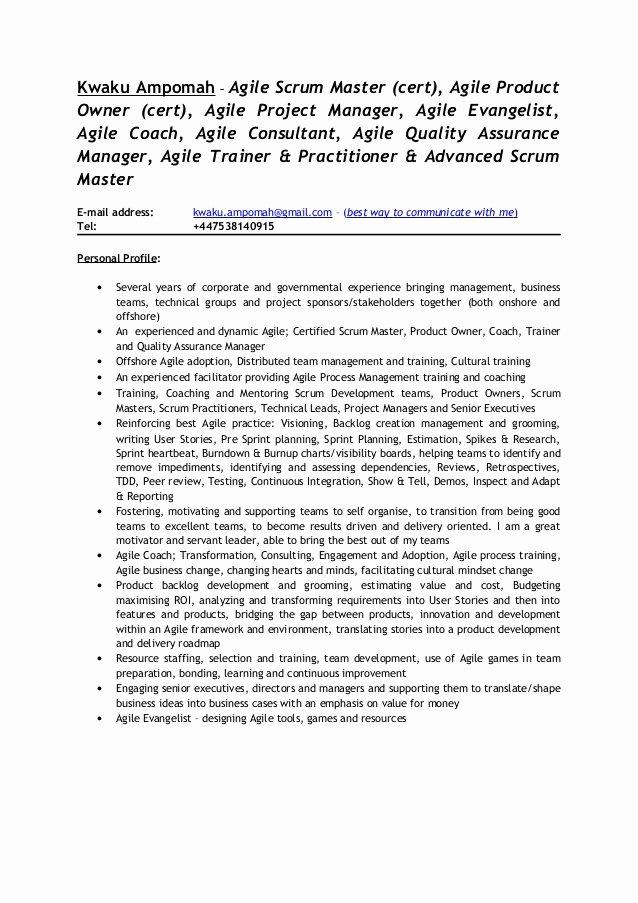 Kwaku Ampomah Agile Scrum Consultant Cv 1