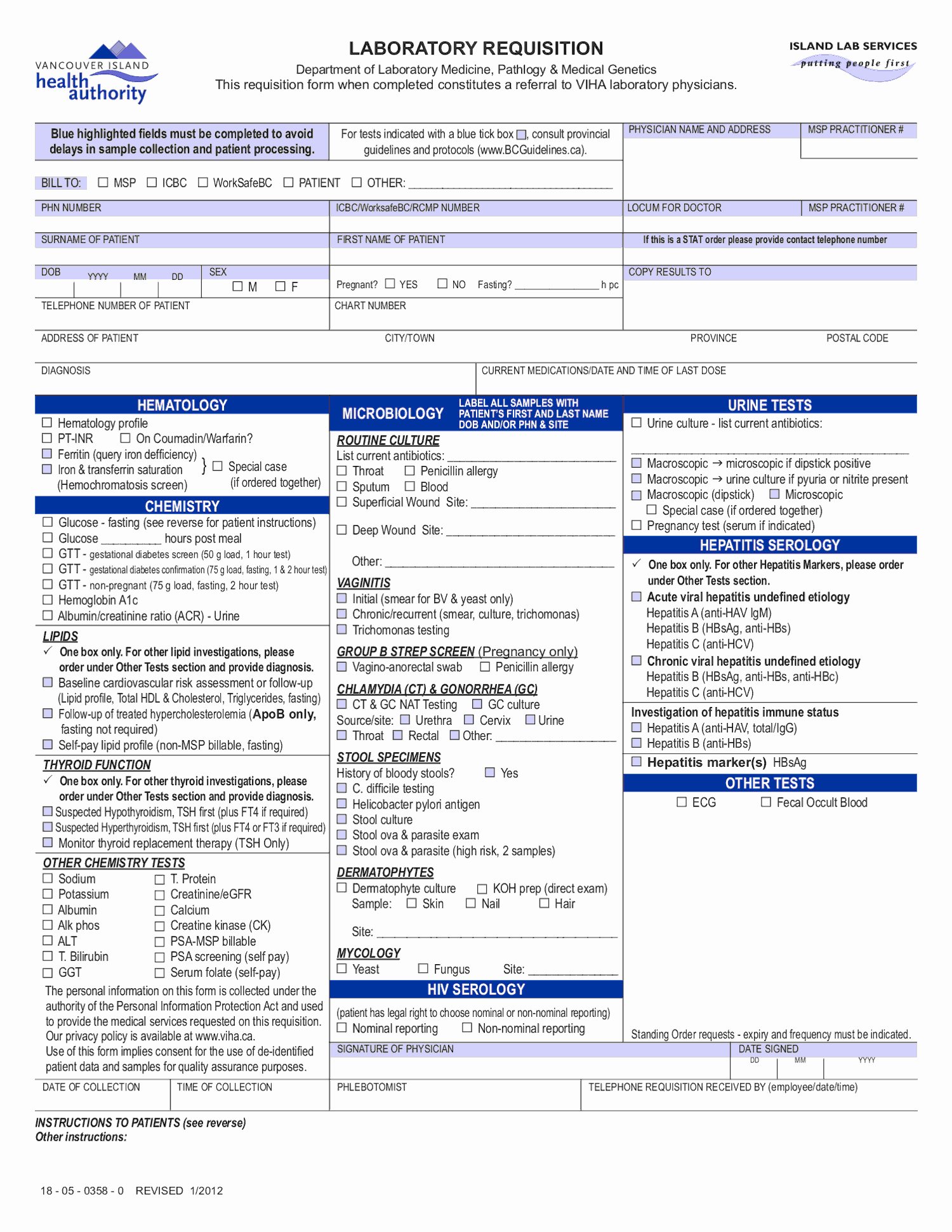 Lab Requisition form Template Image Collections